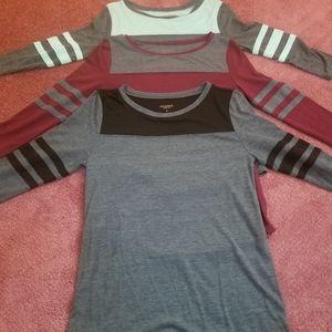 Bundle three junior 3/4 sleeve shirts